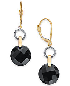 Onyx (12mm) & Diamond (1/6 ct. t.w.) Drop Earrings in 14k Gold