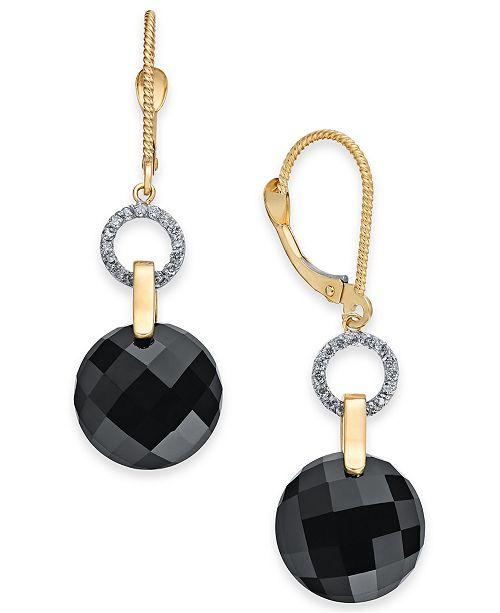 Macy's Onyx (12mm) & Diamond (1/6 ct. t.w.) Drop Earrings in 14k Gold