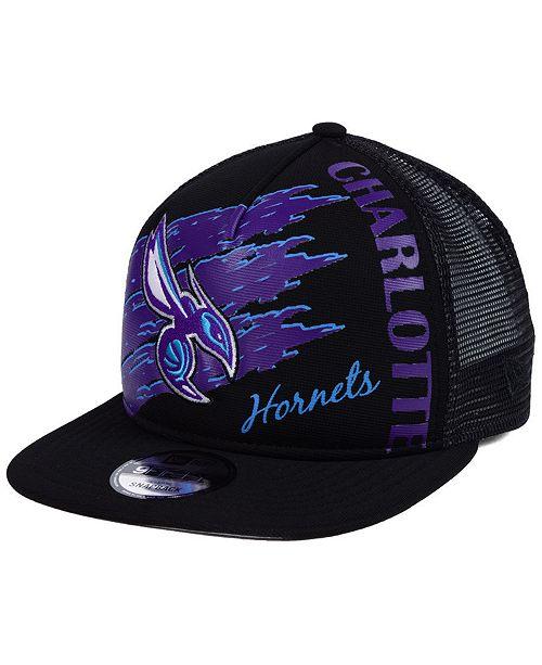 9538bae39d4 New Era Charlotte Hornets Swipe Trucker 9FIFTY Snapback Cap - Sports ...