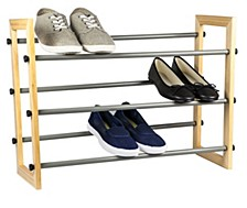 Home Basics 3-Tier Expandable Shoe Rack With Wood Panel