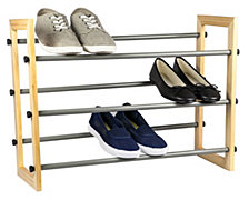 3-Tier Expandable Shoe Rack With Wood Panel