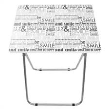 Home Basics Happy Multi-Purpose Foldable Table, Black/White