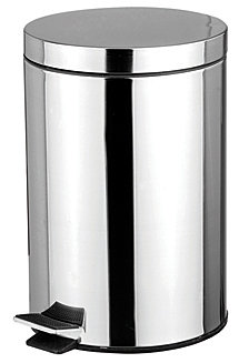 5 Liter Polished Stainless Steel Round Waste Bin, Silver-Tone