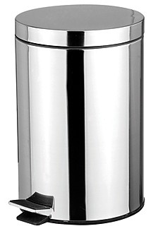 Home Basics 5 Liter Polished Stainless Steel Round Waste Bin, Silver-Tone
