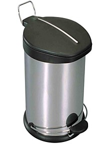 30 Liter Brushed Stainless Steel  with Plastic Top Waste Bin