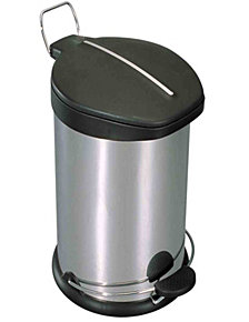 Home Basics 30 Liter Brushed Stainless Steel  with Plastic Top Waste Bin