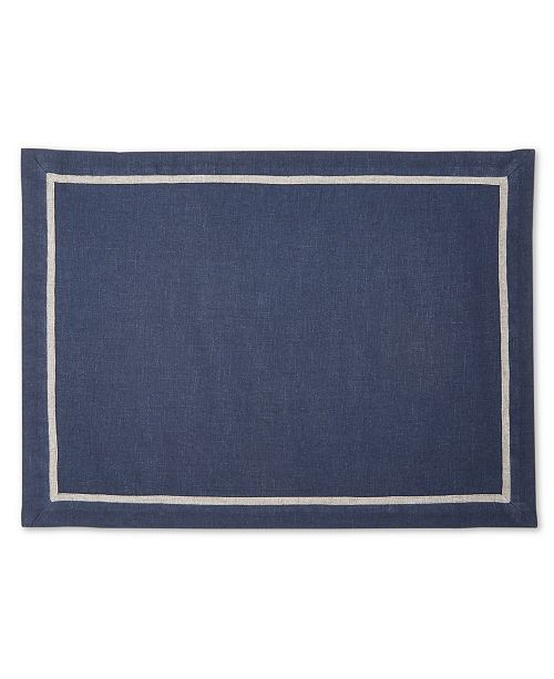 Hotel Collection CLOSEOUT! Navy Placemat with Gray, Created for Macy's