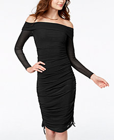 Material Girl Juniors' Ruched Off-The-Shoulder Dress, Created for Macy's