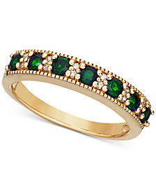 Emerald (1/2 ct. t.w.) & Diamond Accent Milgrain Band in 14k Gold