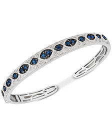 Sapphire (1-3/4 ct. t.w.) & Diamond (1/6 ct. t.w.) Bangle Bracelet in Sterling Silver