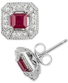 Ruby (1/2 ct. t.w.) & Diamond (1/4 ct. t.w.) Stud Earrings in 10k White Gold