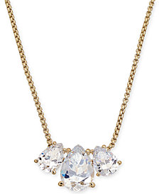 "Danori Triple-Crystal Pendant Necklace, 16"" + 1"" extender, Created for Macy's"
