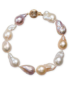 Multicolor Cultured Baroque Freshwater Pearl (9-11mm) Bracelet