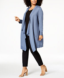 Love Scarlett Plus Size Draped Long Cardigan