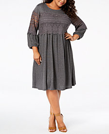 John Paul Richard Plus Size Crochet-Trim Dress