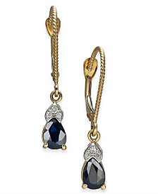 Sapphire (1 ct. t.w.) & Diamond Accent Drop Earrings in 14k Gold
