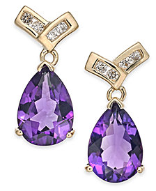 Amethyst (3-3/8 ct t.w.) & Diamond (1/8 ct. t.w.) Drop Earrings in 14k Gold