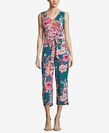 ECI Cropped Floral-Print Jumpsuit