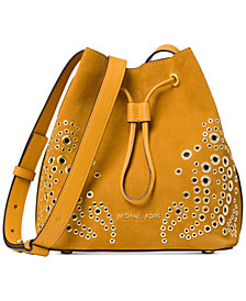 MICHAEL Michael Kors Cary Embellished Suede Bucket Crossbody