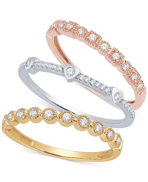 ee0583858 Macy's 3-Pc. Set Diamond Stacking Rings (3/8 ct. t.w.) in 14k Gold ...