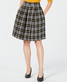 Maison Jules Plaid Pleated A-Line Skirt, Created for Macy's