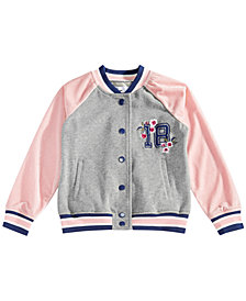 Epic Threads Little Girls Embroidered Varsity Jacket, Created for Macy's