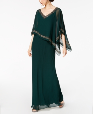 70s Prom, Formal, Evening, Party Dresses J Kara Bead-Embellished Cape Gown $159.99 AT vintagedancer.com