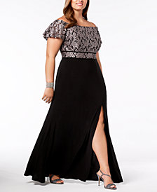 Nightway Plus Size Off-The-Shoulder Gown