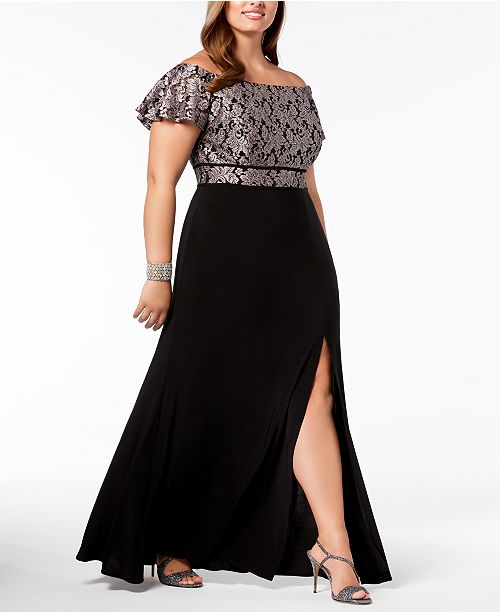a69c10bbe Nightway Plus Size Off-The-Shoulder Gown & Reviews - Dresses ...
