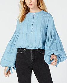 Free People Cotton Embroidered Bell-Sleeve Top