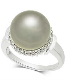 Cultured Tahitian Black Pearl (12mm) & Diamond (1/4 ct. t.w.) Ring in 14k White Gold