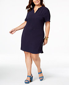 Monteau Trendy Plus Size V-Neck Dress