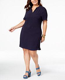 Monteau Trendy Plus Size V-Neck Dress