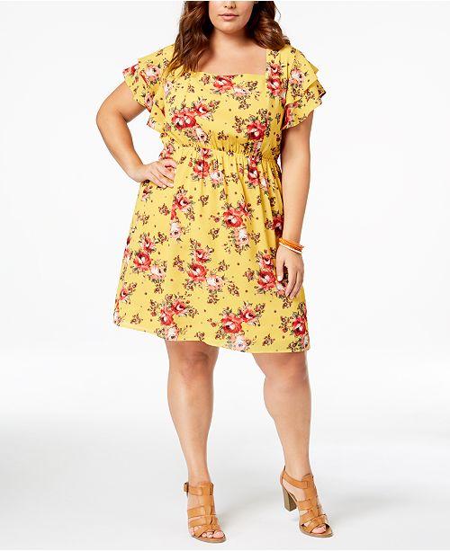 Monteau Trendy Plus Size Floral-Print Fit & Flare Dress ...
