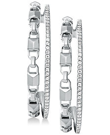 Michael Kors Women's Mercer Link Double Row Sterling Silver Hoop Earrings
