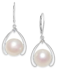 Cultured Freshwater Pearl (11mm) & Diamond Accent Drop Earrings in Sterling Silver