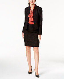 Nine West Tweed Jacket, Tie-Neck Shell & Pencil Skirt