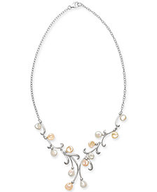 "Cultured White & Pink Keshi Freshwater Pearl (7mm) 17"" Statement Necklace in Sterling Silver"