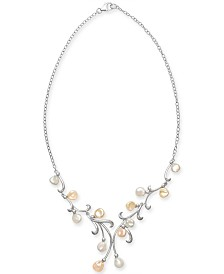 """Cultured White & Pink Keshi Freshwater Pearl (7mm) 17"""" Statement Necklace in Sterling Silver"""