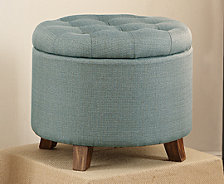 Fabric Round Ottoman, Light Blue