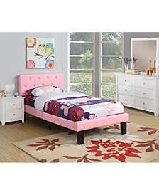 Twin Bed with Faux Leather Frame