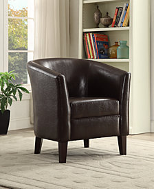 Faux Leather Club Chair, Espresso