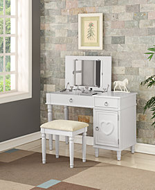Kids' Vanity Set with Stool, White