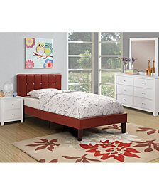 Twin Bed with Burgundy Faux Leather Frame