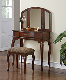 Vanity Set with Stool, Brown