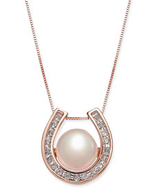 "Pink Cultured Freshwater Pearl (8-1/5 mm) & Diamond (1/5 ct. t.w.) Horseshoe 18"" Pendant Necklace in 14k Rose Gold"