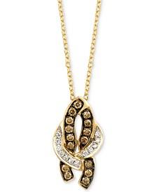 "Le Vian Chocolatier® Diamond 18"" Pendant Necklace (1/5 ct. t.w.) in 14k Gold"