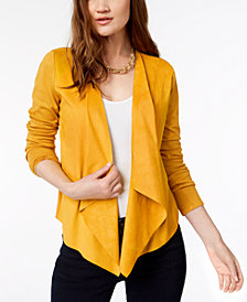 I.N.C. Open-Front Moleskin Cardigan, Created for Macy's