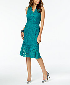 Thalia Sodi Lace Flounce-Hem Dress, Created for Macy's