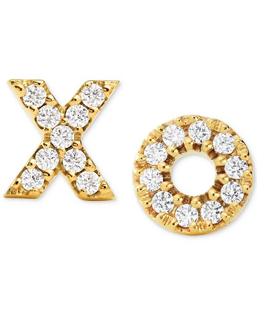 3d2d7d9bcf8b4f ... Stud Earrings; Michael Kors Women's Pavé XO 14K Gold-Plated  Sterling Silver ...